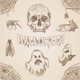 Halloween party vintage engraving doodle hand drawn banner Royalty Free Stock Photo