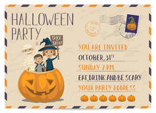 Halloween party vintage postcard invitation Stock Image