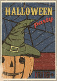 Halloween party vintage Poster. Hand drawn pumpkin Stock Photos