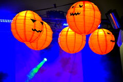 Halloween party vivid pumpkin lanterns Royalty Free Stock Image