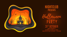 Halloween party web banner design. Creative background with elements are layered separately. Paper art style vector illustration. Festive card with terrible Stock Photo
