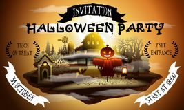Halloween party web invitation illustration with scarecrow and barn in scary moonlight. Halloween party web invitation illustration with scarecrow and barn in Stock Photos