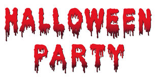 Halloween Party Words - Written in Blood. Halloween Party Text - Words are Written in Blood with Blood Drops and Gradient - Vector Illustration with White stock illustration