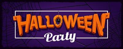Halloween partyjny horyzontalny sztandar z literowaniem rzeźbiący pumpk Zdjęcia Royalty Free