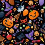 Halloween partyjny kolorowy bezszwowy deseniowy wektor Fotografia Royalty Free