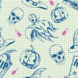 Halloween-patroon, hand getrokken schets Stock Foto's