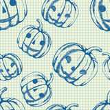 Halloween-patroon, hand getrokken schetspompoenen Stock Foto
