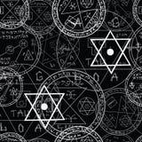 Halloween-patroon met magische symbolen Stock Fotografie