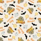 Halloween-patroon met pompoen in een hoed Stock Foto