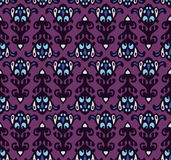 Halloween-patroon van het masker het Naadloze Damast Stock Afbeelding
