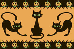 Halloween pattern. Halloween background with cats pumpkins and decor element Stock Photography