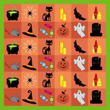 Halloween Pattern. A grid of Halloween Elements Stock Photography