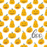 Halloween pattern with angry pumpkins Royalty Free Stock Image
