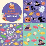 Happy Halloween Patterns. This Halloween pattern art contains 3 fun digital papers inspired by Halloween: black cats, ghosts, pumpkins and of course candy. It stock illustration