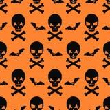 Halloween pattern with bats and skulls. Stock Photos