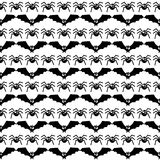 Halloween pattern with bats and spiders. Stock Images
