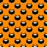 Halloween pattern with black owls and orange background Royalty Free Stock Photos