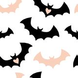 Halloween pattern with black and pink bats vector illustration