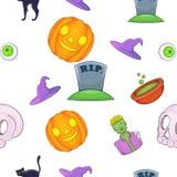 Halloween pattern, cartoon style Stock Images