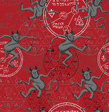 Halloween pattern with demons and symbols on red Royalty Free Stock Photos