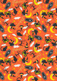 Halloween pattern ghost orange background Royalty Free Stock Photography