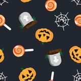 Halloween pattern grave in cemetery, orange pumpkin, spider and cobweb, sweet candy lollipop on dark background. Happy. Halloween pattern stock illustration