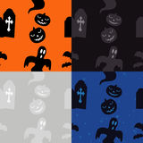 Halloween Pattern: Graves and Pumpkins. Halloween Pattern in different color sets Royalty Free Stock Image