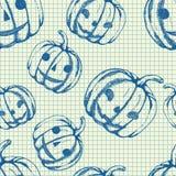 Halloween pattern, hand drawn sketch pumpkins. Vector halloween pattern, hand drawn monochrome blue seamless background with pumpkins Stock Photo