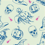 Halloween pattern, hand drawn sketch. Vector halloween pattern, hand drawn monochrome blue seamless background with pumpkin, ghost, hat, tombstone and skull Stock Photos