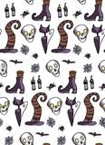 Halloween pattern. hat, cat, skull. Festive pattern, brightly drawn pictures on the theme of Halloween Stock Images