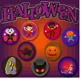 Halloween Pattern Pins of Cartoon Characters Royalty Free Stock Photography