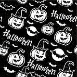 Halloween pattern with pumpkin and bats Royalty Free Stock Photos