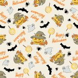 Halloween pattern with pumpkin in a hat. Ghosts, bats, spider and text Happy Halloween Stock Photo