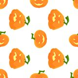 Halloween Pattern with pumpkins and faces. Seamless pattern of pumpkins for the holiday of Halloween from simple shapes and contours Royalty Free Stock Image