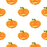 Halloween Pattern with pumpkins and faces. Seamless pattern of pumpkins for the holiday of Halloween from simple shapes and contours Royalty Free Stock Images