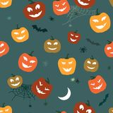 Halloween Pattern Pumpkins and spiders. Horror Background for Design Fabric, Web and others. Vector Stock Photo