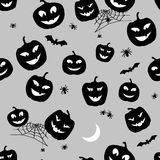 Halloween Pattern Pumpkins and spiders. Horror Background for Design Fabric, Web and others. Vector Royalty Free Stock Photo