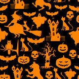 Halloween pattern seamless on black background Royalty Free Stock Images