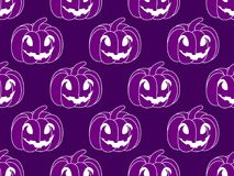 Halloween pattern seamless with pumpkins. Festive endless background. Jack o lantern. Vector. Illustration Royalty Free Stock Photo