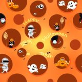 Halloween pattern seamless, texture fabric for kids cute background vector illustration, spooky, vampire, mummy, cats and pumpkin stock illustration