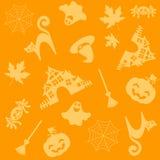 Halloween pattern. Seamless whith pumkin? leaves. Vector illustration Stock Photo