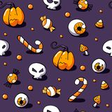 Halloween pattern with sweets, skull, eyeball, amanita and pumpkin on violet background. Seamless vector hand drawn vector illustration