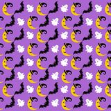 Halloween pattern. Vector illustration. Pattern with the moon, Ghost, bat. Halloween. Vector illustration on a lilac background vector illustration