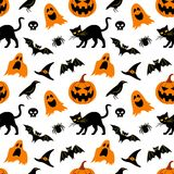 Halloween pattern. Vector seamless pattern for Halloween. Seamless background with Halloween elements: jack-o-lantern, black cat, ghosts, raven, bats, witch's Royalty Free Stock Photo