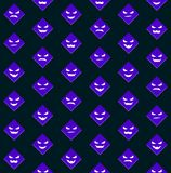 Halloween pattern with violet scary faces Royalty Free Stock Photo