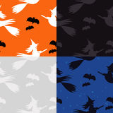 Halloween Pattern: Witches and Bats. Halloween Pattern in different color sets Royalty Free Stock Photo