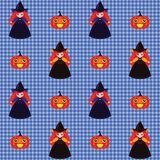 Halloween pattern with witches and pumpkins. Vector seamless checked halloween pattern with cute witches and pumpkins Royalty Free Stock Images