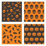Halloween patterns. Collection of black and orange halloween patterns Royalty Free Stock Image
