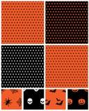 Halloween patterns. Seamless halloween polka dot patterns in orange and black with motifs Stock Photos