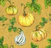 Halloween patterns. kurbis pumpkin seamless design. Seamless pumpkin design for halloween. watercolor pattern on textured background Royalty Free Stock Photo